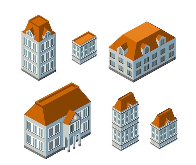 Paisaje de la ciudad isométrica 3d de casas, jardines y calles en una vista superior tridimensional