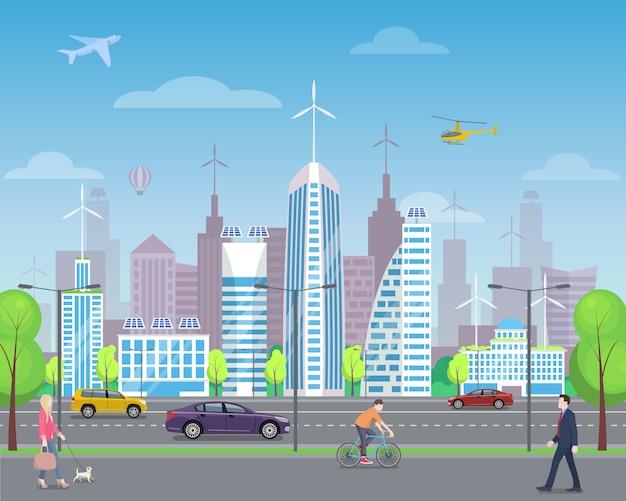 Paisaje de la ciudad moderna con los transeúntes ocupados, altos rascacielos futuristas