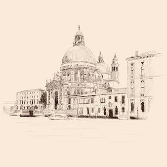 Paisaje de la ciudad vieja de venecia. edificios antiguos, la catedral de santa maría y un canal de agua.
