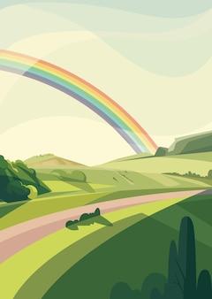 Paisaje con colinas y arco iris. escenario natural en orientación vertical.