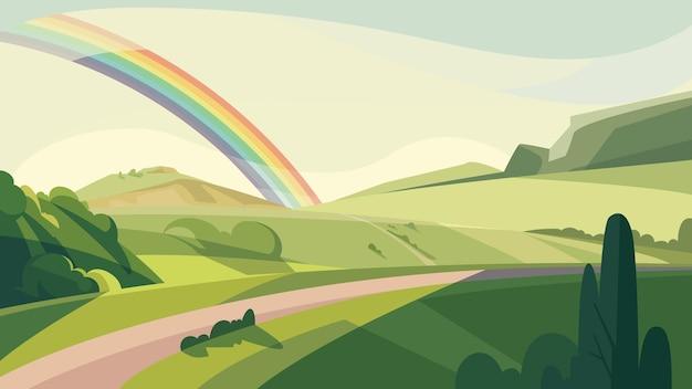 Paisaje con colinas y arco iris. hermoso paisaje natural.