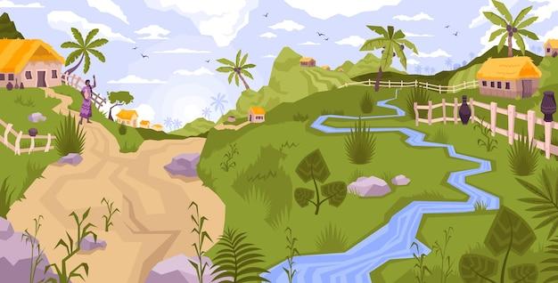 Paisaje de composición plana de la aldea con vista panorámica del exótico campo con palmeras, arroyo y colinas ilustración