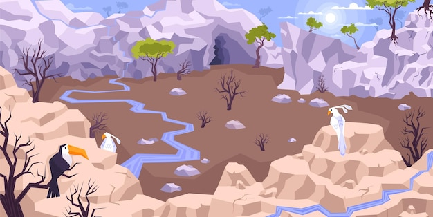 Paisaje de composición plana de montañas con paisajes de tierras secas y mesetas con arroyos rodeados de acantilados con ilustración de aves