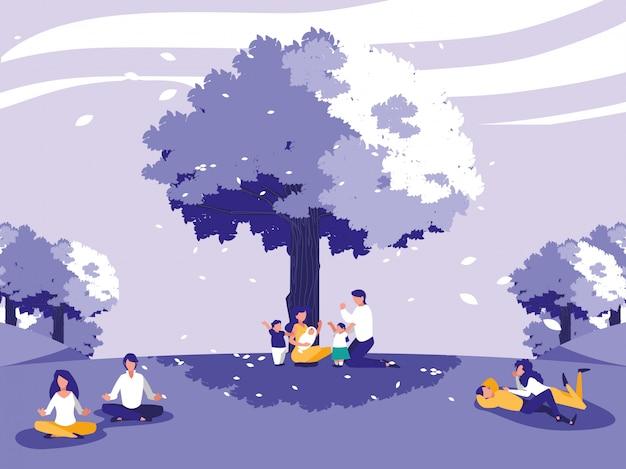 Paisaje creativo con árboles y personas.