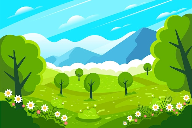 Paisaje creativo de primavera plana