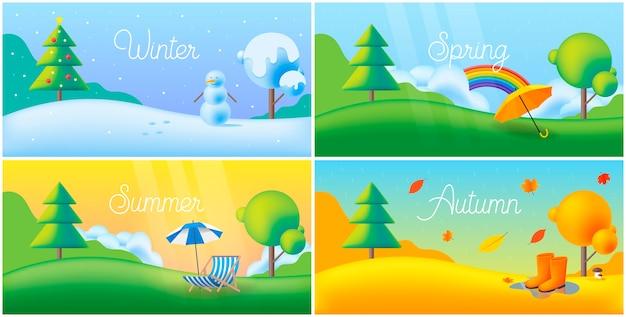Paisaje de cuatro estaciones: invierno, primavera, verano, otoño con césped y árboles