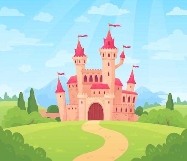 Paisaje de cuento de hadas con castillo. torre del palacio de fantasía, fantástica casa de hadas o dibujos animados del reino de castillos mágicos