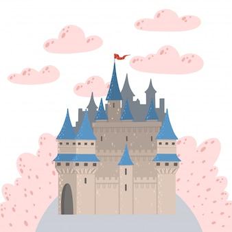 Paisaje de cuento de hadas con un castillo. torre del palacio de fantasía. fantástica casa de hadas.