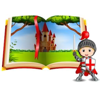 Paisaje del castillo en el libro y un caballero