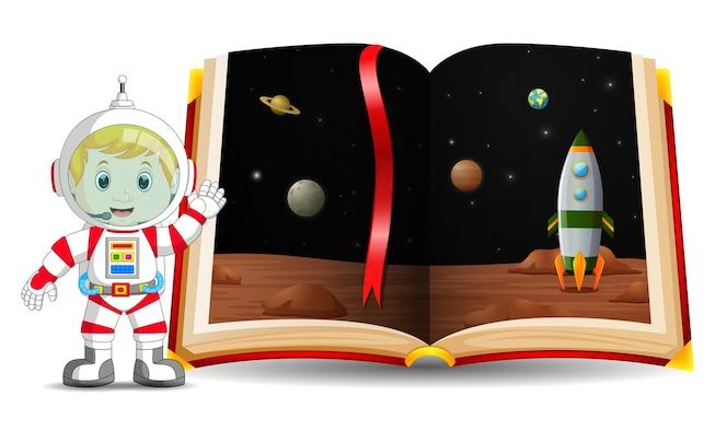 Paisaje del planeta en el libro y el niño
