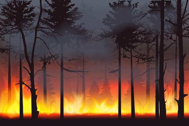 Paisaje de desastre de incendio forestal de incendios forestales silueta realista