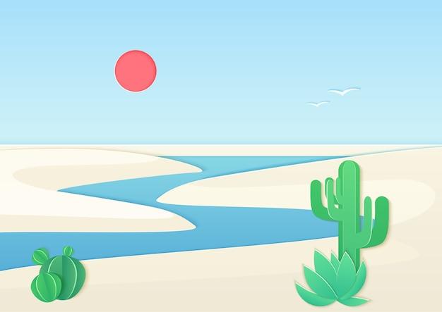 Paisaje desértico de arena blanca con río oasis