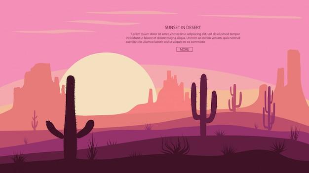 Paisaje desértico cactus y montañas, puesta de sol en cañón, escena de ilustración con piedras y arena.