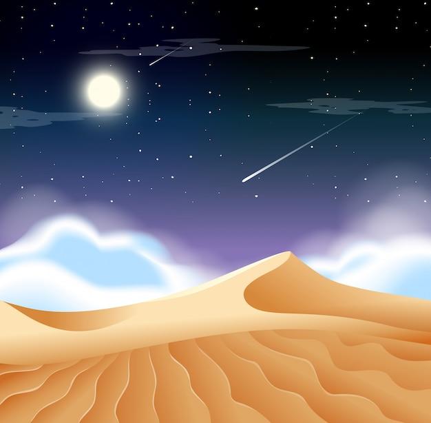 Un paisaje desértico por la noche