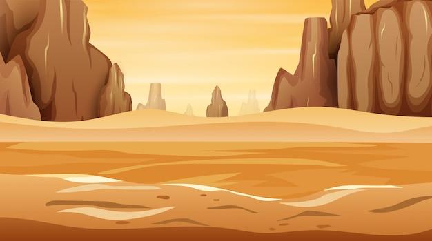 Un paisaje desértico occidental con la montaña acantilado de roca