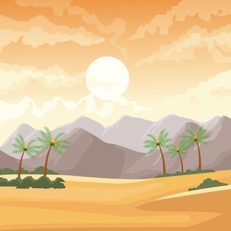 Paisaje desértico con palmeras y montañas
