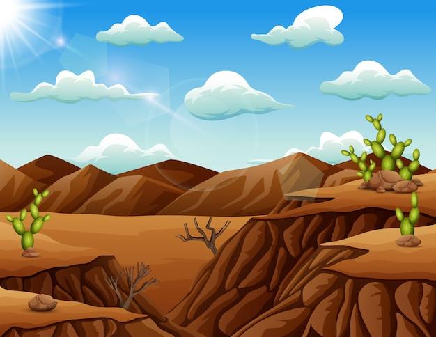 Paisaje desértico de piedra con cactus.