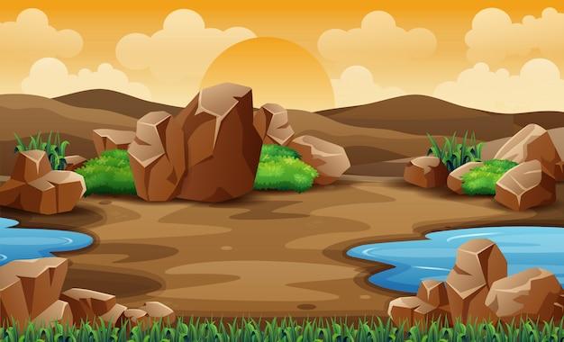 Un paisaje desértico con roca y montaña.