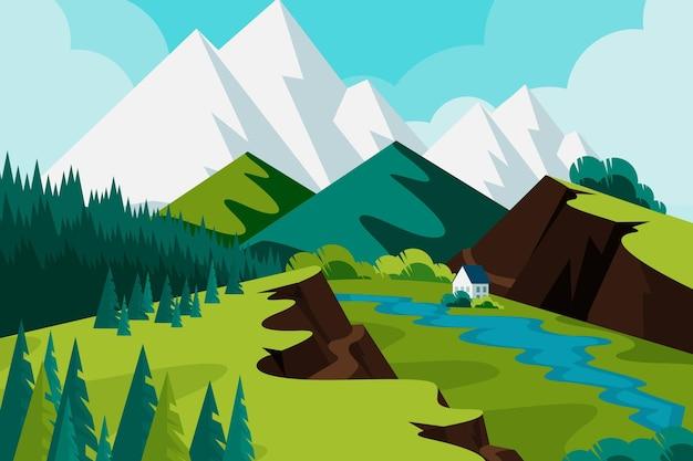 Paisaje dibujado a mano con montañas