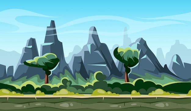 Paisaje de dibujos animados con árboles y montañas.