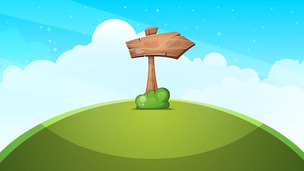 Paisaje de dibujos animados de flechas de madera.