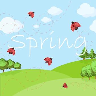 Paisaje de dibujos animados de primavera