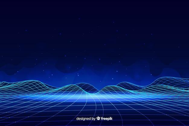 Paisaje digital abstracto con fondo de partículas