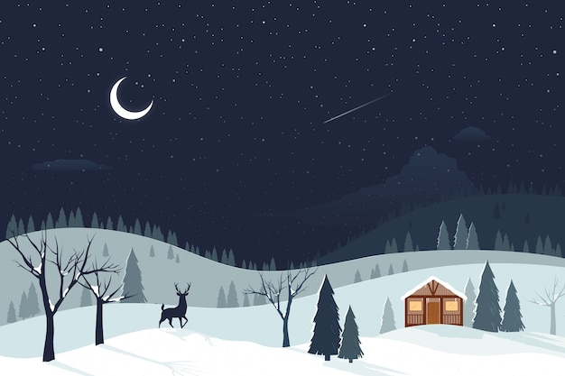 Paisaje diseño plano invierno
