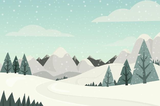Paisaje de diseño plano con montañas y árboles.