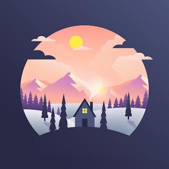 Paisaje de diseño plano con montañas y casa.