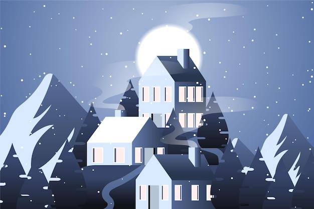 Paisaje de diseño plano con montañas y casas.