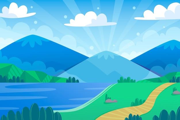 Paisaje de diseño plano con montañas y mar.