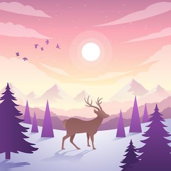 Paisaje de diseño plano con montañas y renos.