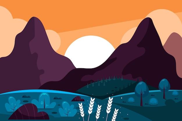Paisaje de diseño plano con montañas.