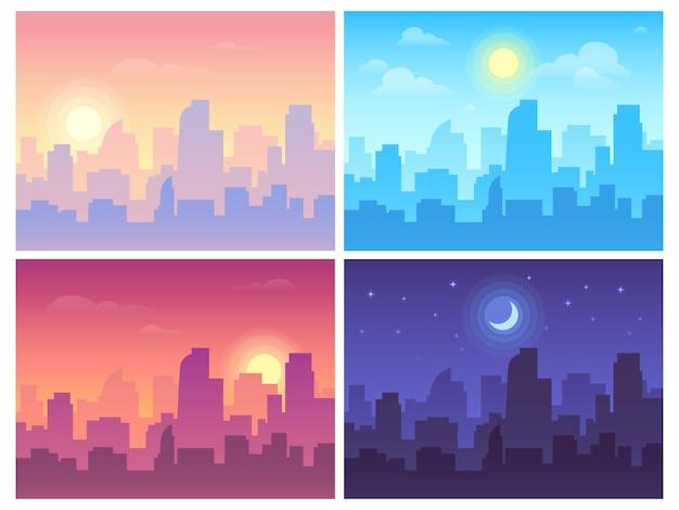 Paisaje diurno mañana, día y noche paisaje del horizonte de la ciudad, edificios de la ciudad en diferentes momentos y antecedentes urbanos