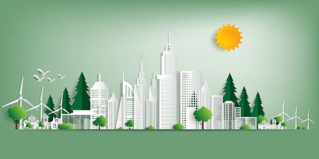 Paisaje ecológico con edificios en corte de papel.