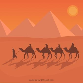 Paisaje de egipto con caravana de camellos de diseño plano