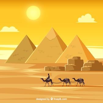 Paisaje de egipto con caravana