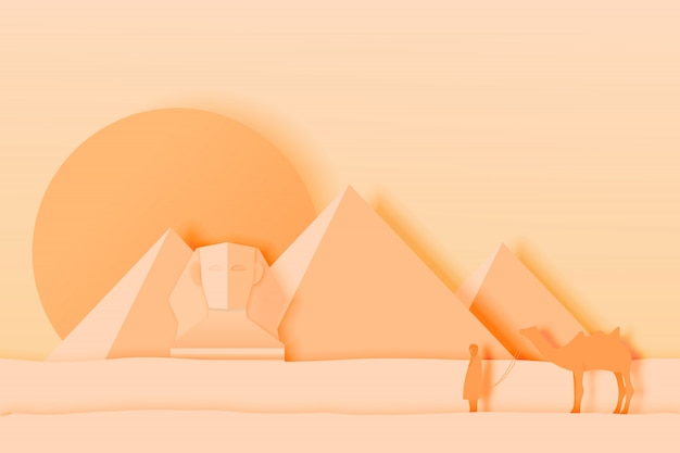 Paisaje de egipto con pirámide en papel de arte