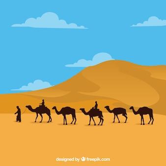 Paisaje de egipto con pirámides y caravana