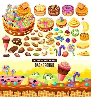 Paisaje y elementos de caramelo dulce de dibujos animados.