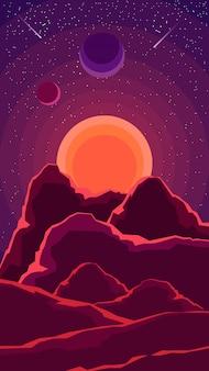 Paisaje espacial con puesta de sol, otros planetas y un cielo estrellado en tonos púrpura.