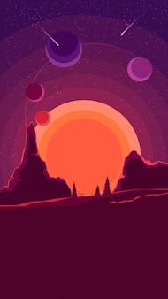 Paisaje espacial con puesta de sol en púrpura, naturaleza en otro planeta.