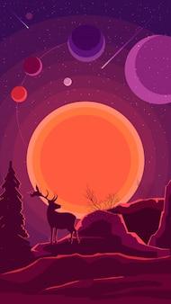 Paisaje espacial con puesta de sol y silueta de un ciervo en tonos morados.