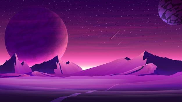 Paisaje espacial púrpura de marte con grandes planetas en el cielo estrellado púrpura