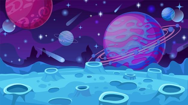 Paisaje extraterrestre con cráteres, cometas y rocas.
