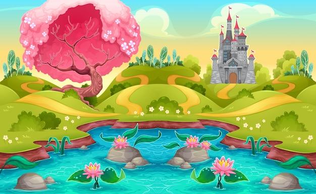 Paisaje de fantasía con castillo en el campo