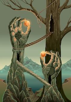 Paisaje de fantasía con ilustración de dibujos animados de estatuas de mano