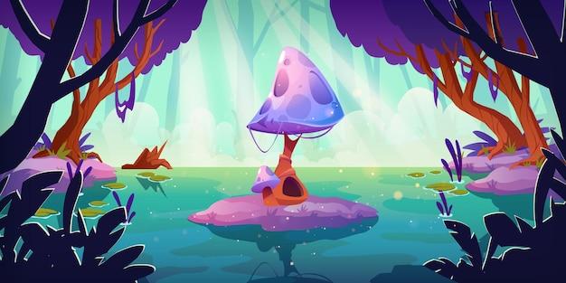 Paisaje de fantasía con setas enormes en el estanque del bosque o pantano