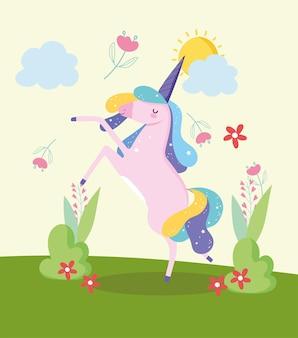 Paisaje de fantasía de unicornio